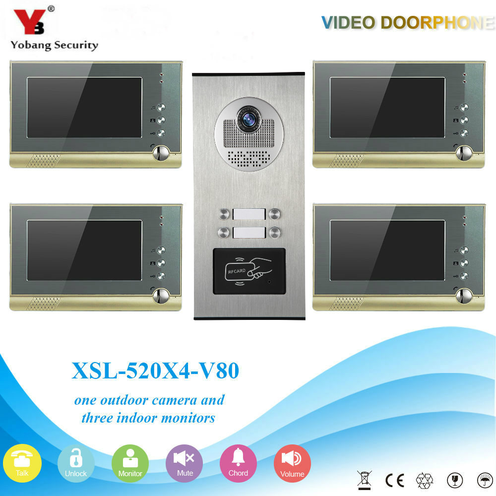YobangSecurity Video Door Intercom 7Inch Video Door Phone Doorbell Intercom System RFID Access Door Camera For 4 Unit Apartment apartment intercom system 7 inch mointor 4 unit apartment video door phone intercom system video intercom doorbell doorphone kit