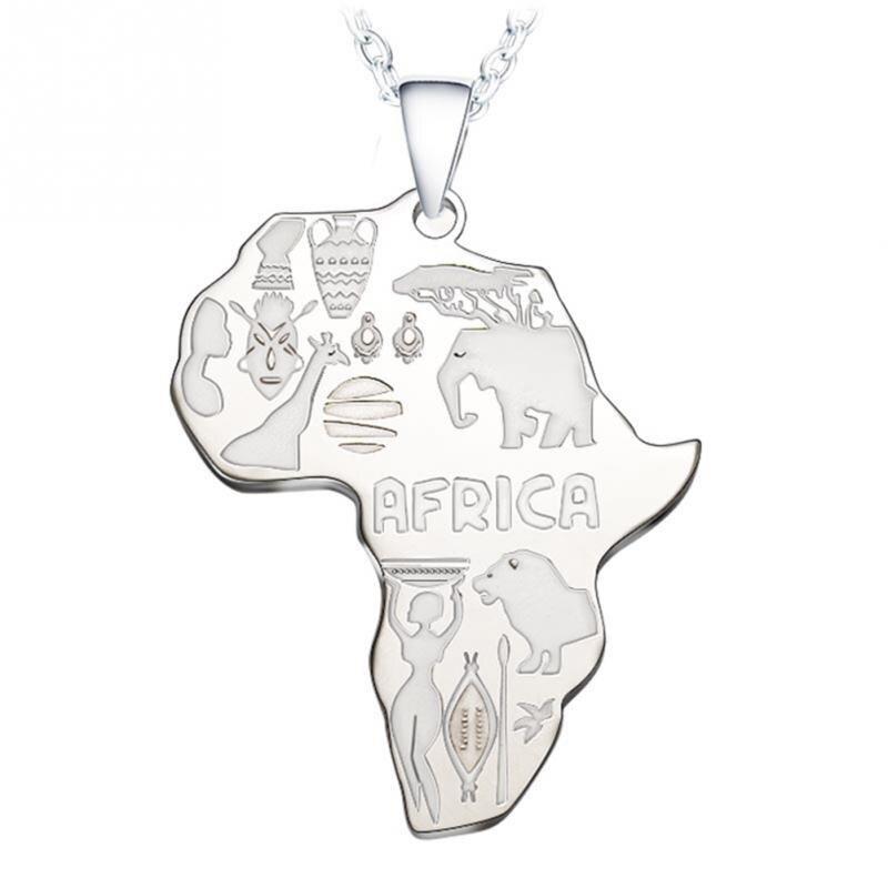4 цвета Африка Карта Подвеска Цепочки и ожерелья для Для женщин/Для мужчин Эфиопии ювелирных изделий африканские Карты хип-хоп Цепочки и ожерелья поставки