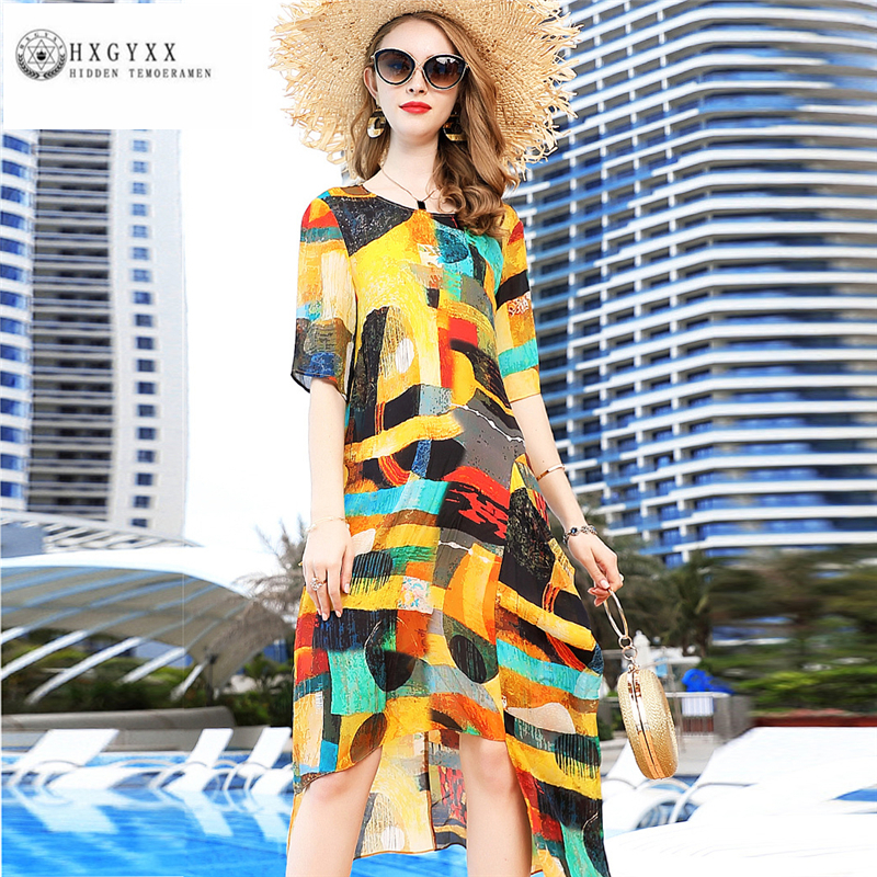 2019 Spring Summer New Women Dresses Fashion Retro print Dress Loose large size Long Temperament Short
