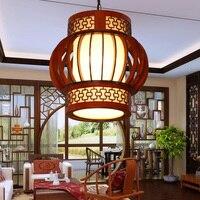 Китайский деревянные подвесные светильники столовые Чайные домики коридорах балкон вход круглый лампы подвесные светильники ZA ZL508