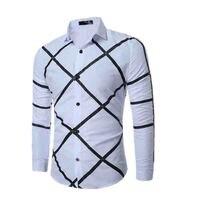 Мода 2019 Весна Осень Досуг Повседневная рубашка Paild белые рубашки мужские с длинным рукавом сетка Молодежная Геометрическая Печать платье р