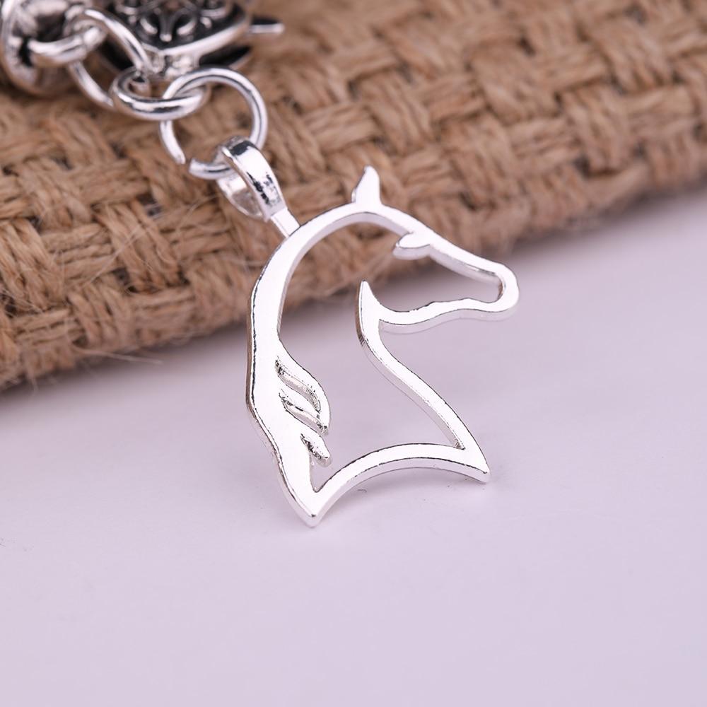 Silver Plated Fashion Thick Charm & Wheat Chain Bracelet Trendy Men Bracelets Bangle Horse Pendants Women Jewelry