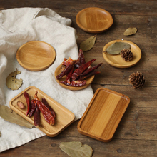 Mini bandeja de almacenamiento platillo de bambú rectángulo Circular plato pequeño cuadrado para alimentos dulces aperitivos foto estudio fotografía fondo