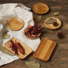 Mini bandeja de armazenamento, molhador de bambu, retangular, quadrado, pequena, para alimentos, doces, lanches, estúdio de fotos, fundo de fotografia
