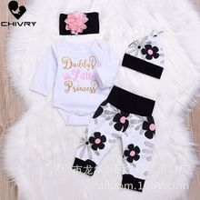 Chivry 4Pcs Newborn Baby Girls Long Sleeve Letter Bodysuit Romper Tops + Floral Pants Infant Girl Clothing Sets