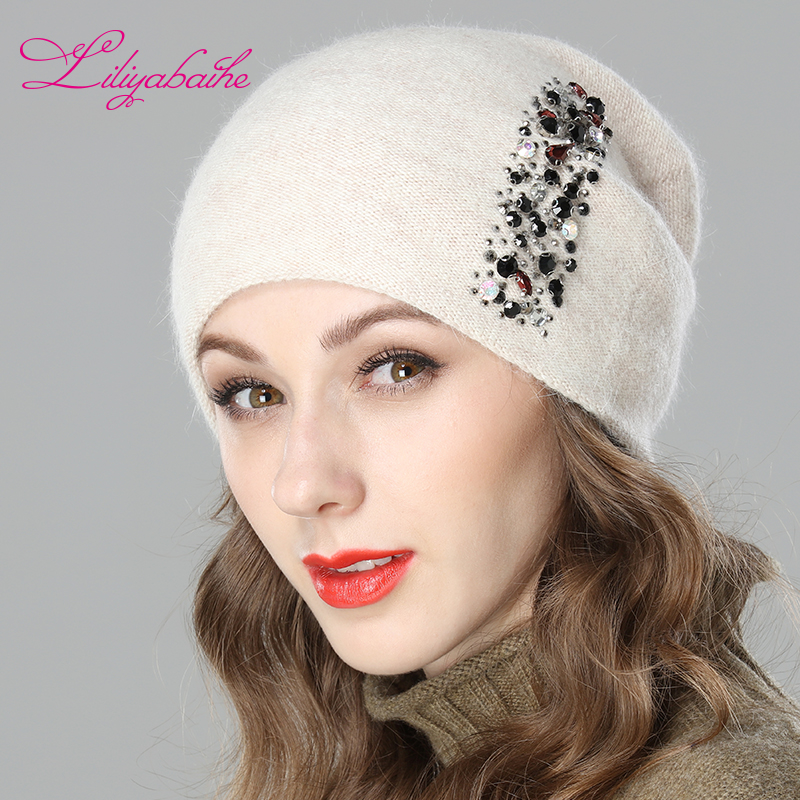 LILIYABAIHE Women Autumn And Winter Hat Angora Knitted Skullies Beanies Cap Colored Vertical Strip Diamond Decoration Hats