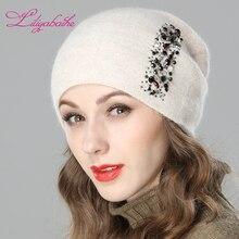 LILIYABAIHE ผู้หญิงฤดูใบไม้ร่วงและหมวกฤดูหนาว angora ถัก Skullies Beanies หมวกสีแนวตั้งเพชรตกแต่งหมวก