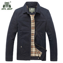 AFS JEEP 2017 Middle age men autumn classic casual brand 100% pure cotton army green jackets man spring khaki jacket black coats