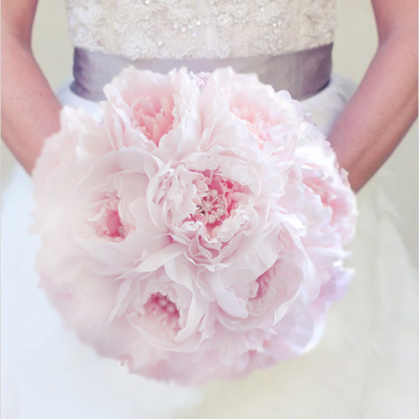 New Simple Style Bridal Pink Bouquet Peony Brooch Pearl Wedding Elegant Soft Pale