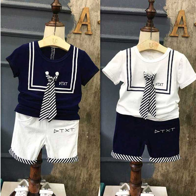 New summer casual boys kid s Stripe Tie short sleeve Shirt shorts 2 pcs clothing set