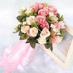 2017 pink white wedding bouquet handmade artificial flower rose buque casamento bridal bouquet for wedding decoration.jpg 250x250