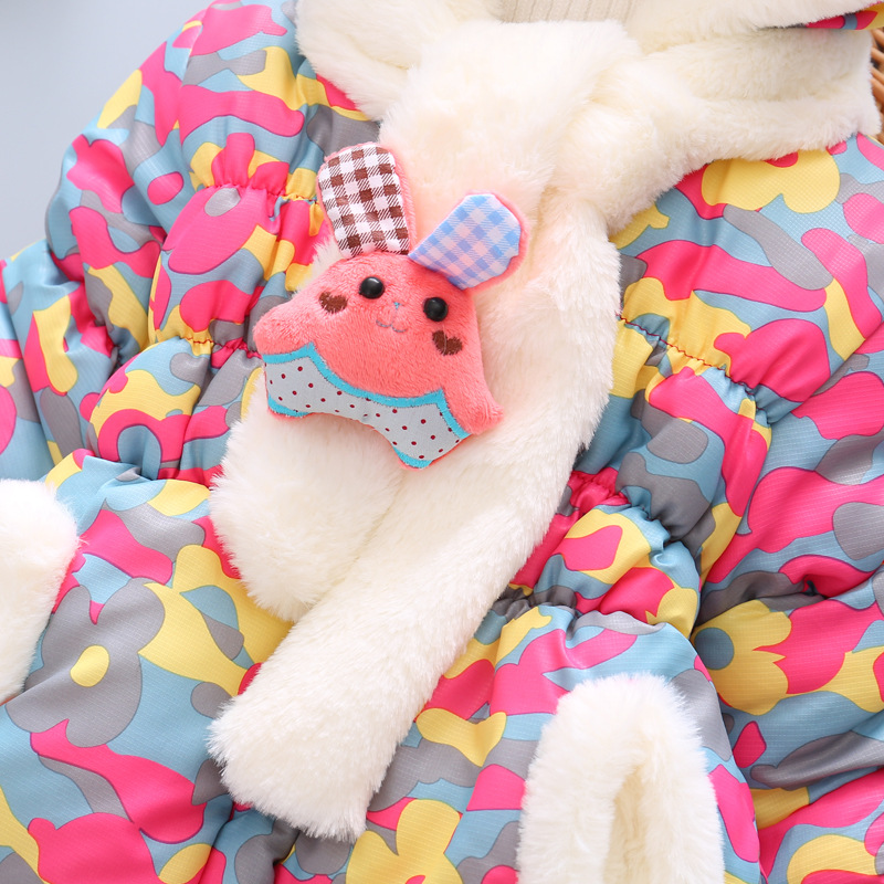 3 Bibihou Winter Cute Rabbit Baby Jacket Thick Cotton-Padded Baby Girl Outerwear Infant Baby Boys Parka Toddler Girls Snow Wear