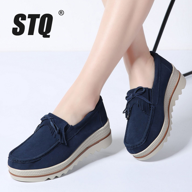 22398a0ea4e2 STQ 2019 Spring women flat platform shoes casual sneakers tassel on dress  leather suede slip on