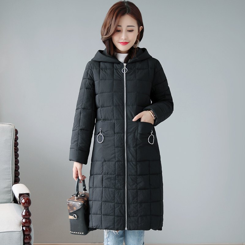 2019 New Design Winter Jacket Women Hooded Padded With Two Pockets Female Coat Long Autumn Casual   Parka   Abrigos Mujer Invierno