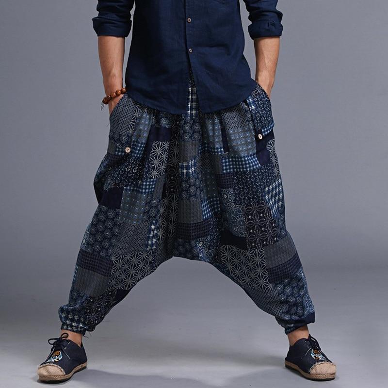 Мужские модные мешковатые штаны в стиле хип-хоп, штаны-шаровары с принтом, эластичная резинка на талии, свободные длинные брюки, повседневные крутые