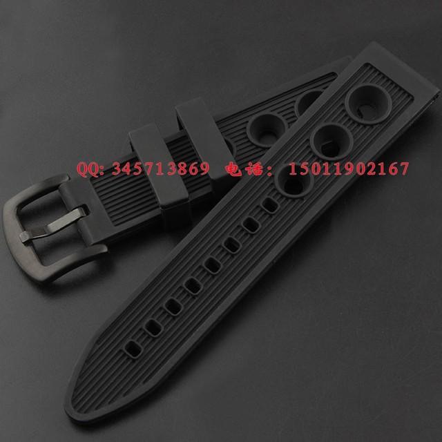 22 mm 24 mm Mens preto borracha de Silicone assista Strap banda Waterproof pulseiras de relógio frete grátis