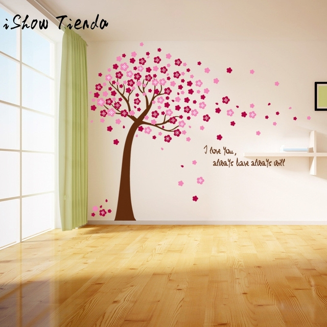 Pink Sakura Flower Cherry Blossom Tree Removable Wall Sticker Room Decals  Petals Flying Flower Tree Wall Part 55