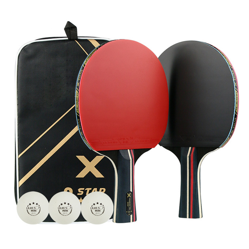 Table Tennis Bat Racket PingPong Paddle Long Short Handle Durable Bag 3 Balls FK88