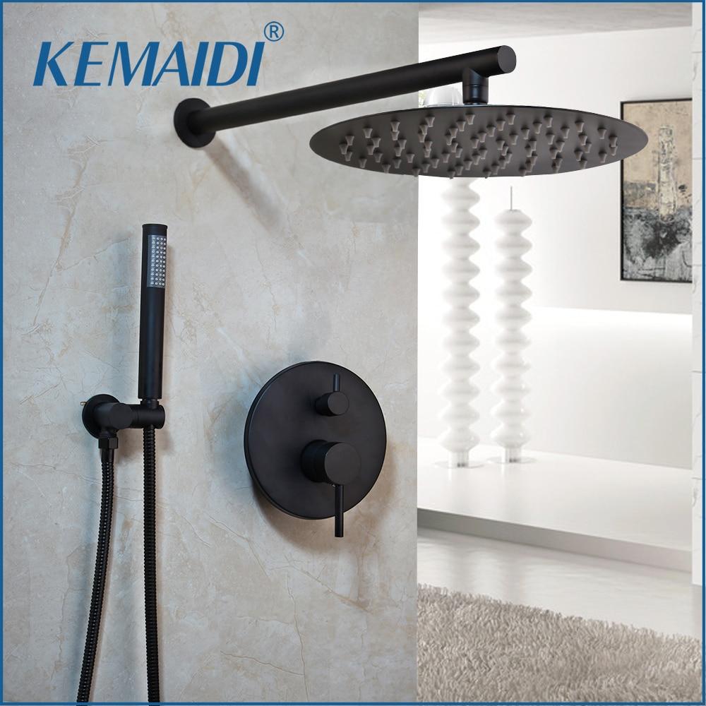KEMAIDI Ultra-thin Shower Head Black 8 10 12 Inch Wall Mounted Bathroom Rainfall Faucet Sets Head Hand Shower Set