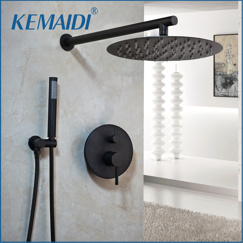 KEMAIDI pommeau de douche Ultra-mince noir 8 10 12 pouces mural salle de bains robinet de pluie ensembles tête douche ensemble