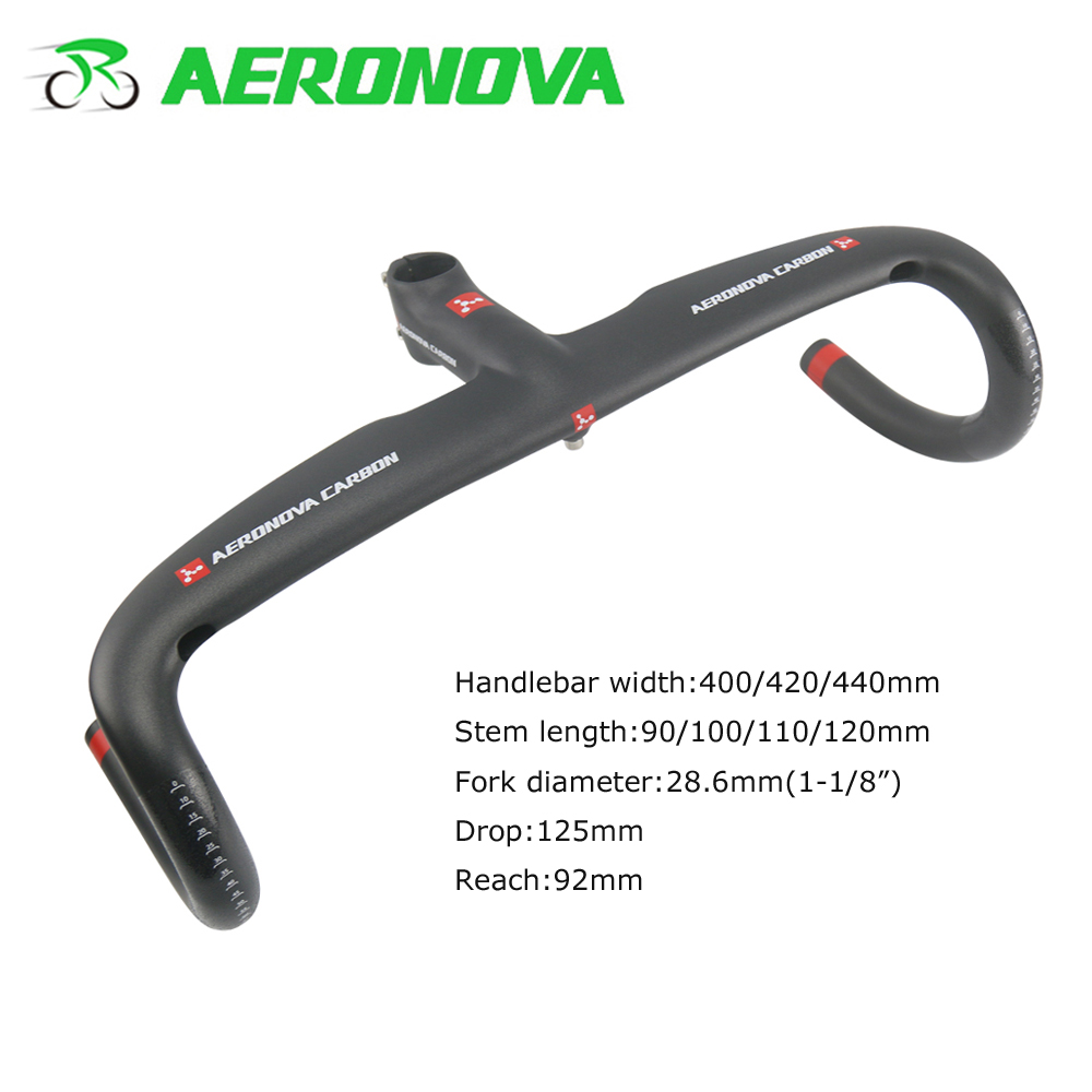 AERONOVA Integrated <font><b>Carbon</b></font> <font><b>Handlebar</b></font> <font><b>Road</b></font> <font><b>Bike</b></font> With <font><b>Stem</b></font> 28.6mm UD Matte Drop Handle Bars <font><b>Road</b></font> <font><b>Carbon</b></font> Bicycle <font><b>Handlebars</b></font> image