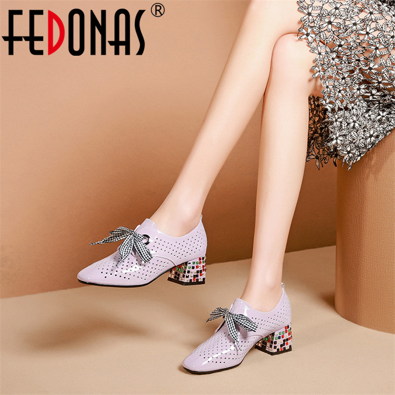 FEDONAS Classic Hollow Genuine Leather Women Pumps 2019 Summer New Lace Up High Heels Round Toe