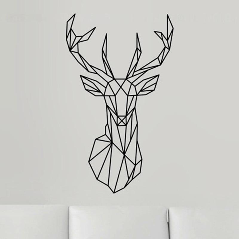 diy Geometric Deer Head Wall Sticker Modern Home Decor Geometry Animal Series Decals 3D Vinyl Wall Art poster Sticker  line art