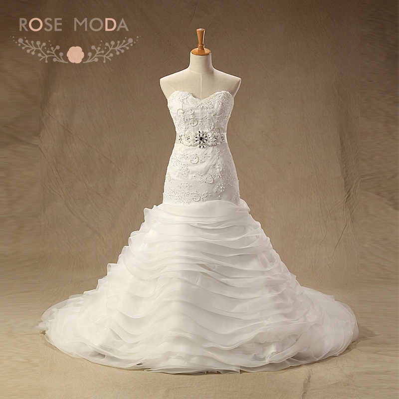 Rose Moda Chantilly Lace Wedding Dress with Removable Crystal Sash ...