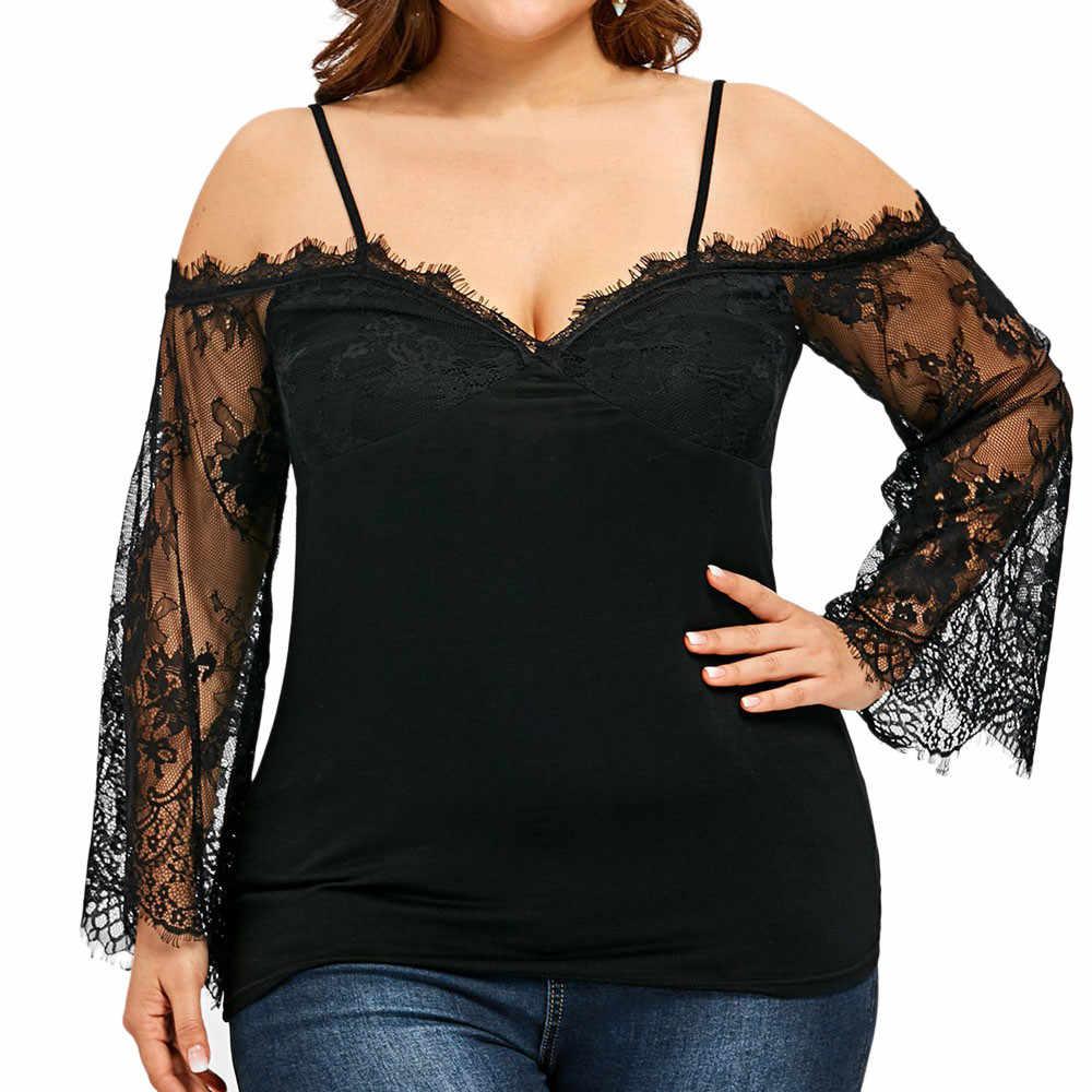 Sexy Grote Maat Lace Off Shoulder Tee Shirt Blouse Lange Mouwen V-hals Tops Kleding Nieuwe Hot Verkoop Lente Zomer Vrouwen mode