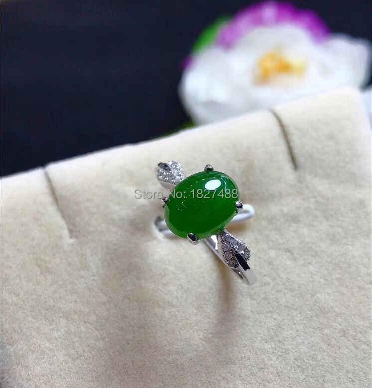 Boutique ผู้หญิงของขวัญแฟชั่น Choice * จริง S925 Silver Inlay หยกสีเขียวอัญมณีชุดผู้หญิงเครื่องประดับแหวน + สร้อยคอ + ear Studs