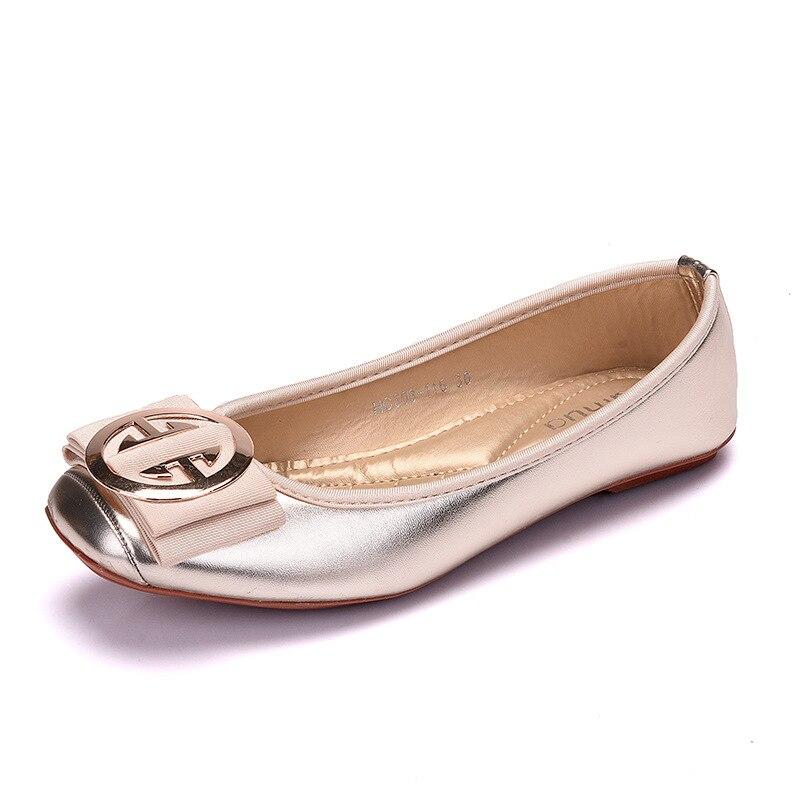 2019 Women Fashion Flats Shoes Square Toe PU Leather Shoes Women Loafers Woman Ballet Flats Shoes Girls Cute Golden Shoe 42