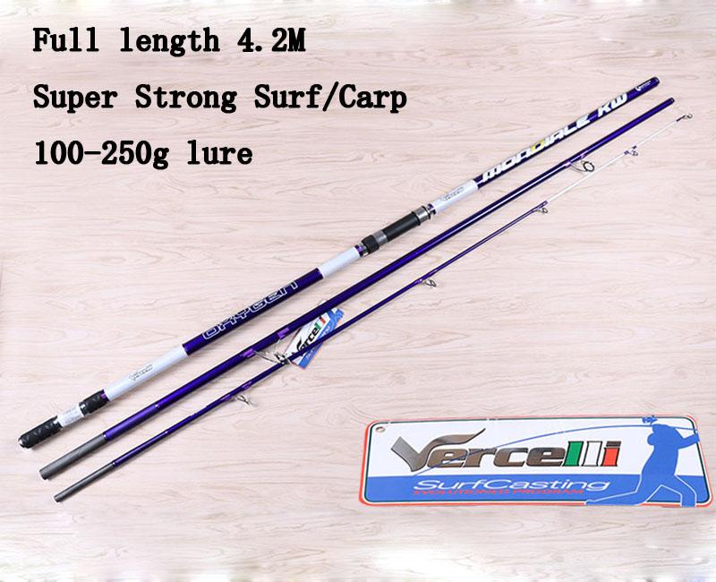 Prix pour 2017 UCOK 1 pcs/pack 4.2 M En fiber de Carbone ultra dur longue coulée loin coup distance lancer carpe de pêche surf d'ancrage canne à pêche