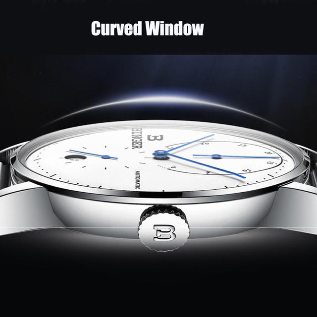 Switzerland BINGER Men's Watches Luxury Brand Automatic Mechanical Men Watch Sapphire Male Japan Movement reloj hombre B-1187-1