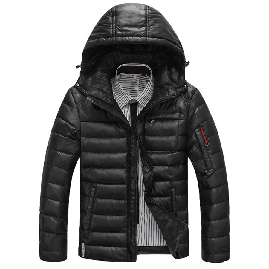 ФОТО black jacket Winter Duck  Jacket Ultra light Men Coat Waterproof  Fashion mens Outerwear coat