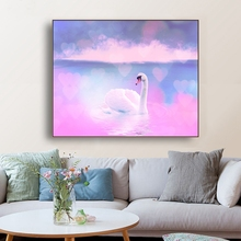Pink Swan Lake Cherry Blossoms Wall Art Canvas Painting Calligraphy Poster Print Decorative Picture for Living Room Home Decor