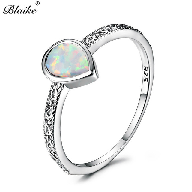 Blaike 925 Sterling Silver Filled Water Drop White Blue Purple Fire Opal  Rings for Women Vintage Fashion Jewelry Birthstone Ring 69e53aa97d19