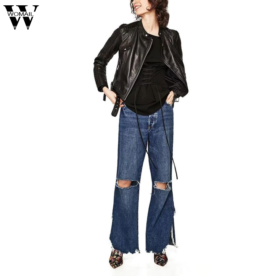 Womail 2017 Turn-down Collar Suede Effect Line Female Motorcycle Outerwear Leather Jacket S M L Oct4