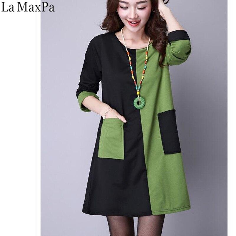 545caec77dfc 2019 Women Autumn Casual Dress Boho Loose Vintage Dress Elegant Short  Dresse Retro Patchwork Long Sleeve