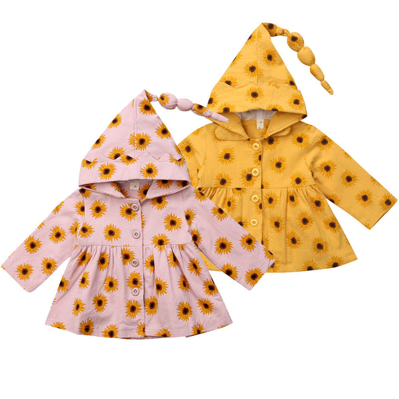 Hot Sale Casual Sunflower Print Hooded Coat 2018 New Baby Girl Long Sleeve Autumn Hooded Jacket Baby Girls Coats Outerwear 0-24M