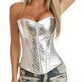 Sexy Corset Top Waist trainer Corsets silver zipper corset Corselet Overbust Bustier Waist Shaper corpetes e espartilhos 2015
