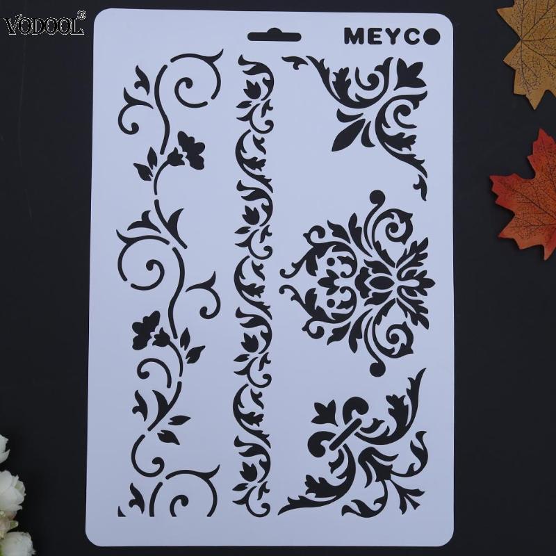 VODOOL Cane Vine Hollow DIY Drawing Stencils Templates Painting Scrapbooking Paper Cards Album Stencils Ruler School Supplies