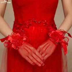 Ta140 Красный 3D цветы Luvas De Noiva Guantes Novia короткие Свадебные аксессуары