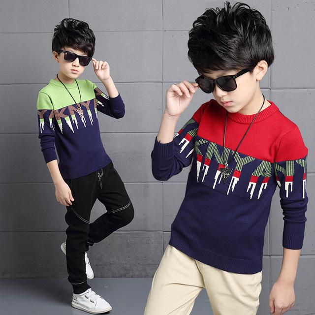 2016 Primavera y Otoño muchachos niño alfabeto lucha color suéter ropa de abrigo niños cómodo y personal