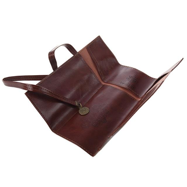 1 pc Case PU Leather Pen Pencil Case Pencil Bag Cosmetic Brush Bag 2