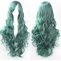 woman cosplay wigs girls cheap green wig long hair heat resistant synthetic wigs for women 80cm long wavy curly wig lolita pink