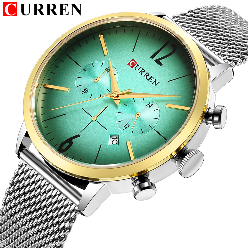 CURREN Hot Fashion Sport Men Watches 2018 Top Brand Luxury erkek kol saati Quartz Wrist Watch Chronograph Steel Band Clock yazole brand lovers watch women men watches 2017 female male clock leather men s wrist watch girls quartz watch erkek kol saati