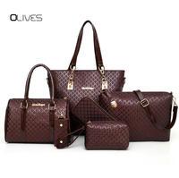 6 Sets Composite Bags Luxury Designer Women Leather Handbag Ladies Messenger Handbags Famous Brands Fashion Female Classic Bag