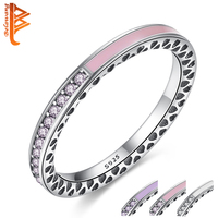 Authentic 100 925 Sterling Silver Radiant Hearts Light Pink Enamel CZ Diamond Finger Rings For Women