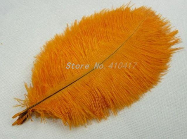 10 pçs/lote belas penas de avestruz cor laranja 25 - 30 cm / 10 - 12 polegadas para desempenho DIY decoração