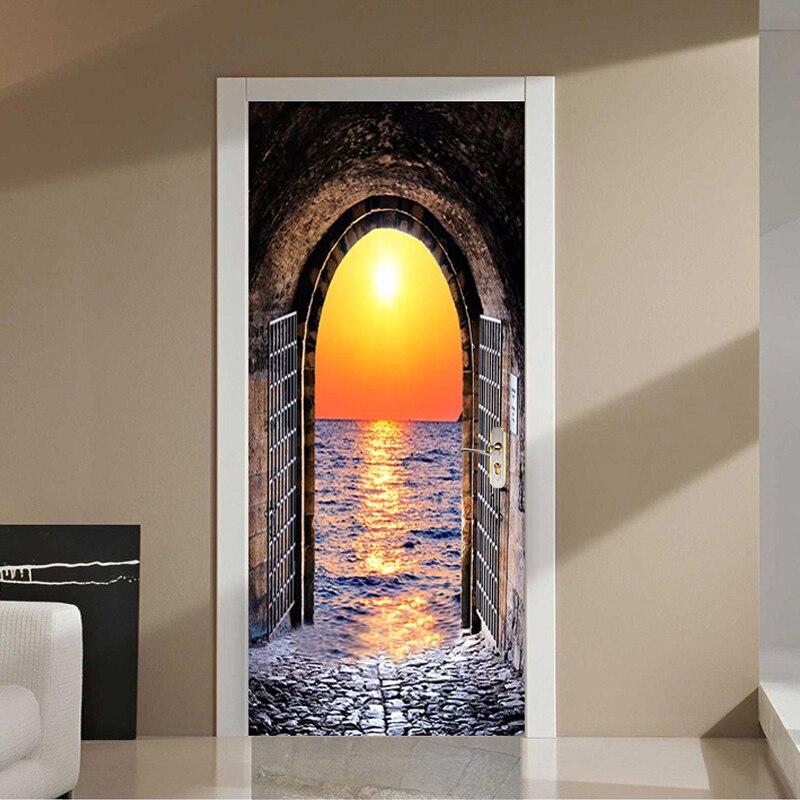 PVC Door Sticker 3D Sunset Seaside Landscape Wallpaper Modern Space Tunnel Murals Self-Adhesive Waterproof Decor 3 D
